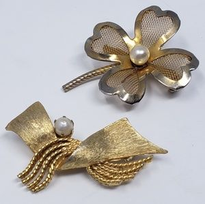 Pair of vintage gold tone faux pearl brooches